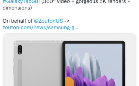 三星Galaxy Tab S8平板電腦渲染圖曝光